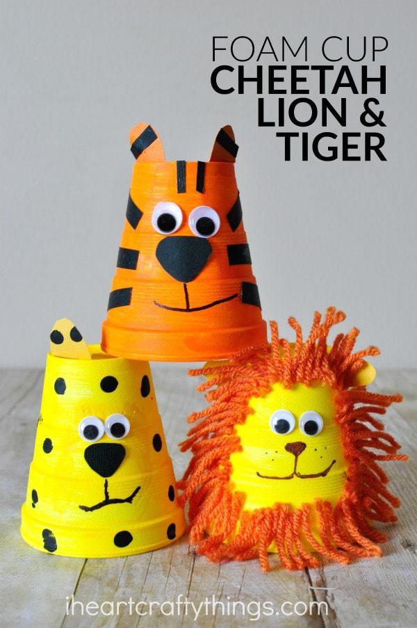 foam-cup-cheetah-lion-tiger-craft