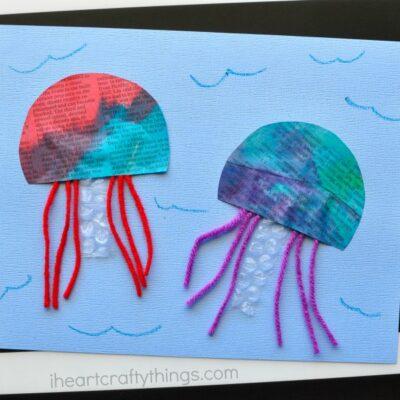 Painted Newspaper Jellyfish Craft