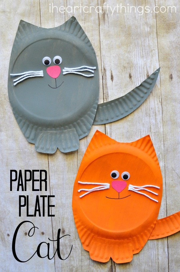 Paper plate cat craft i heart crafty things for Arts and crafts for 2 year olds