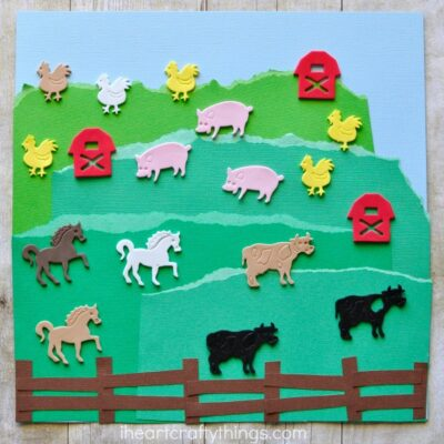 This simple farm craft with stickers makes a perfect toddler craft or preschool craft. Kids will love getting creative by designing their own farm.