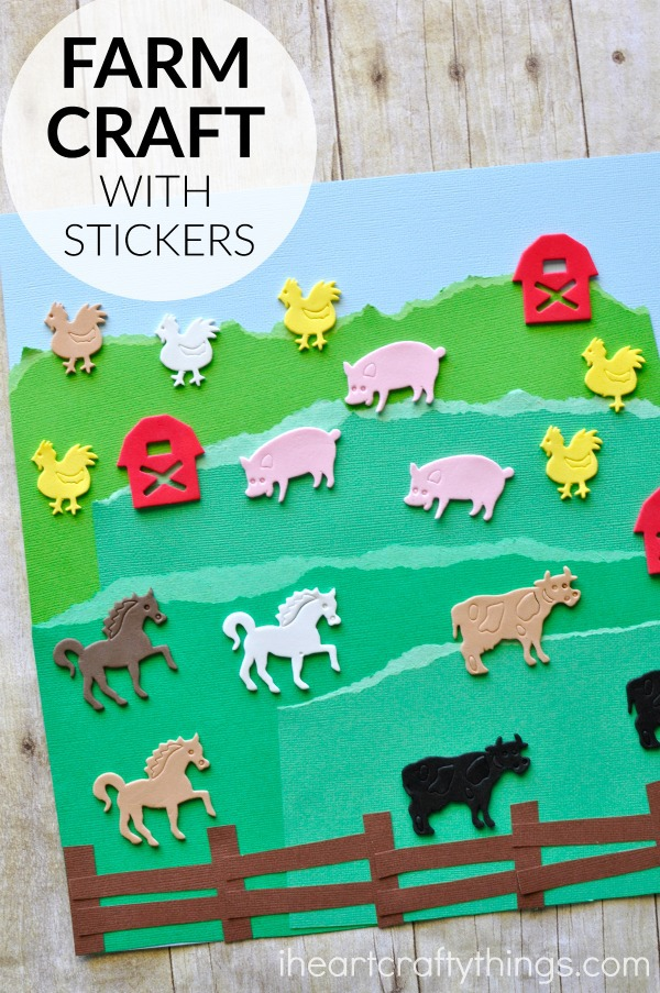 simple farm craft with stickers i heart crafty things