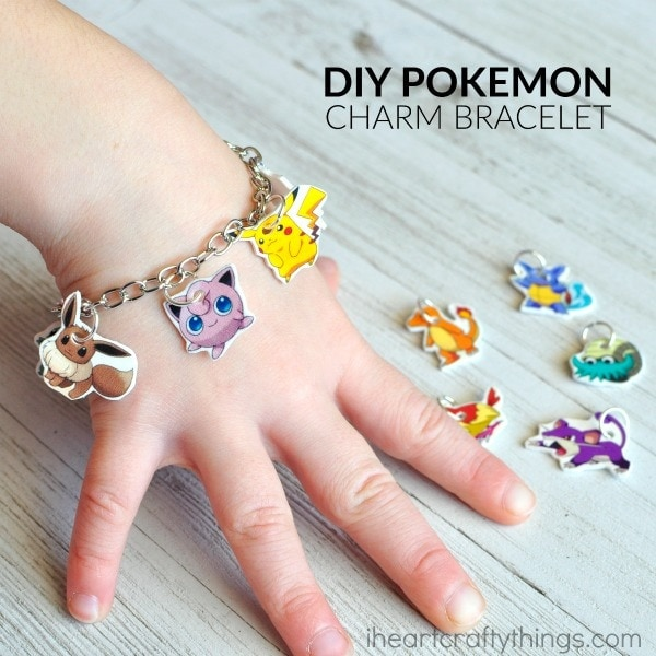 If you have Pokemon Go fans at your house they will love bringing the fun indoors by making this DIY Pokemon Go Charm Bracelet. You can also turn the charms into a Pokemon necklace or Pokemon key chain. Fun crafts for tweens, family night activities and Pokemon Go Craft.