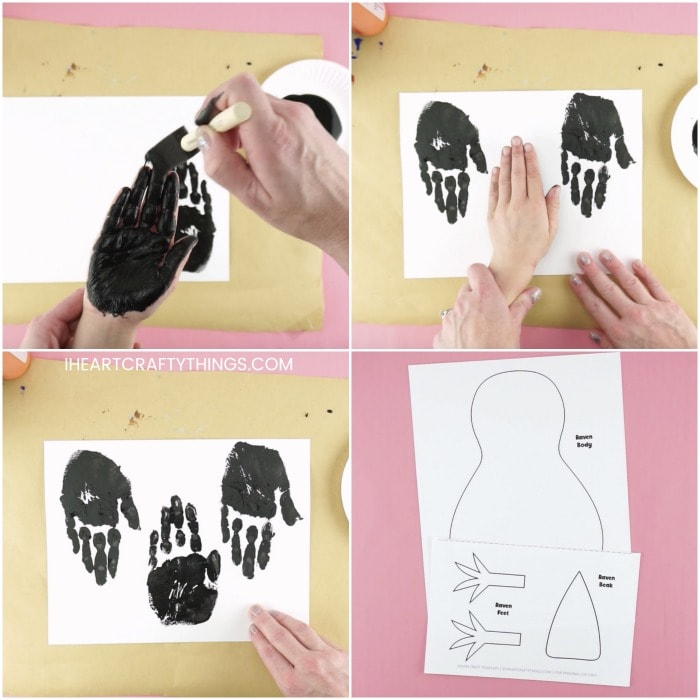 four image collage showing child having their hand painted and printed on white cardstock paper