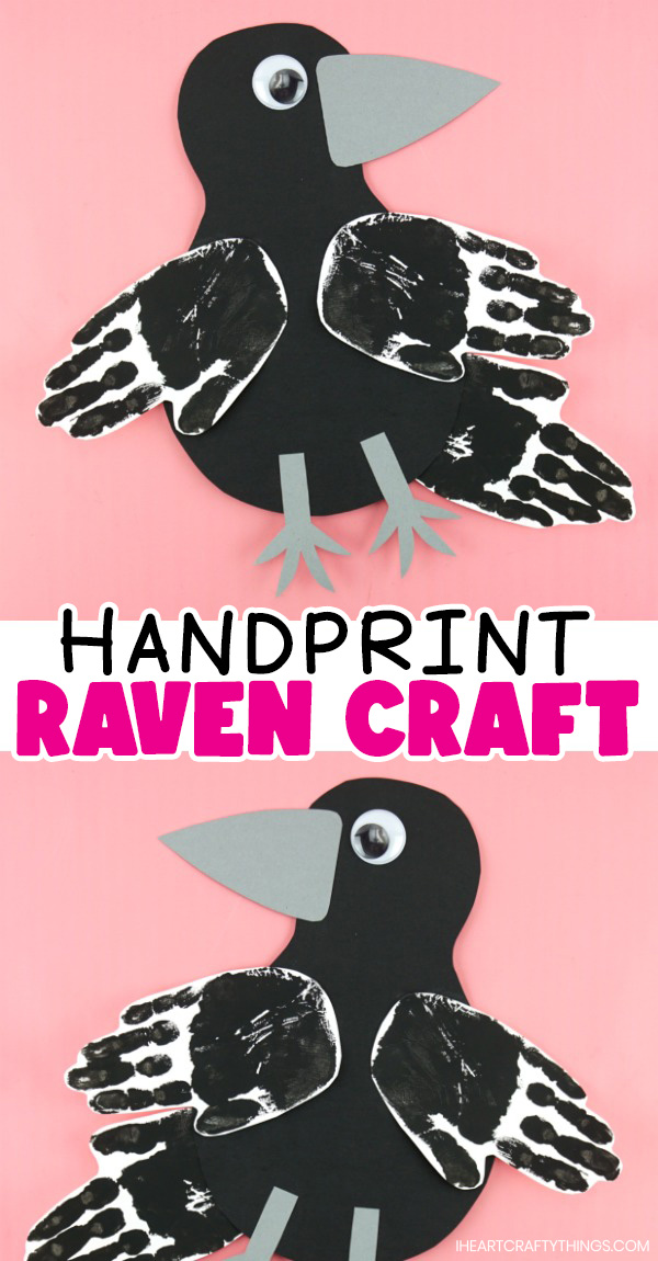 """vertical two image collage with each raven facing opposite directions and the text """"handprint raven craft"""" in the center"""