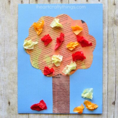 This beautiful painted newspaper fall tree craft makes a super simple fall kids craft that is colorful and perfect for kids of all ages.