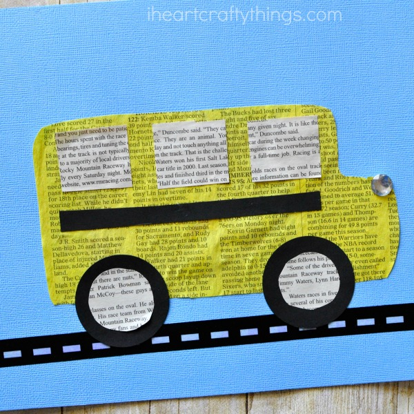 This painted newspaper school bus craft is a simple and fun back to school craft for kids and is perfect for preschoolers and Kindergartners who are excited to be starting school this year.