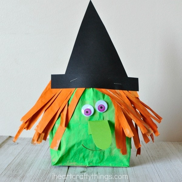 This stuffed paper bag witch craft makes a fun Halloween kids craft, fall craft for kids, preschool Halloween craft and elementary age Halloween craft.