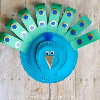 This gorgeous paper plate peacock craft is simple to make and is a great paper plate craft, preschool craft and bird craft for kids.