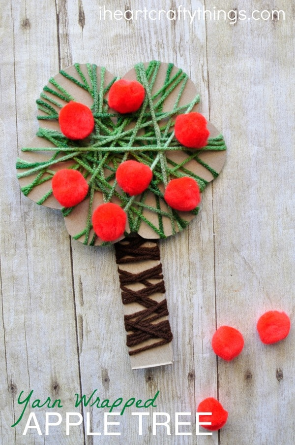 yarn-wrapped-apple-tree-craft-2