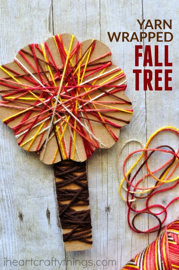 Yarn wrapped fall tree craft i heart crafty things for Fall crafts for preschoolers pinterest