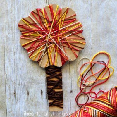 Yarn Wrapped Fall Tree Craft