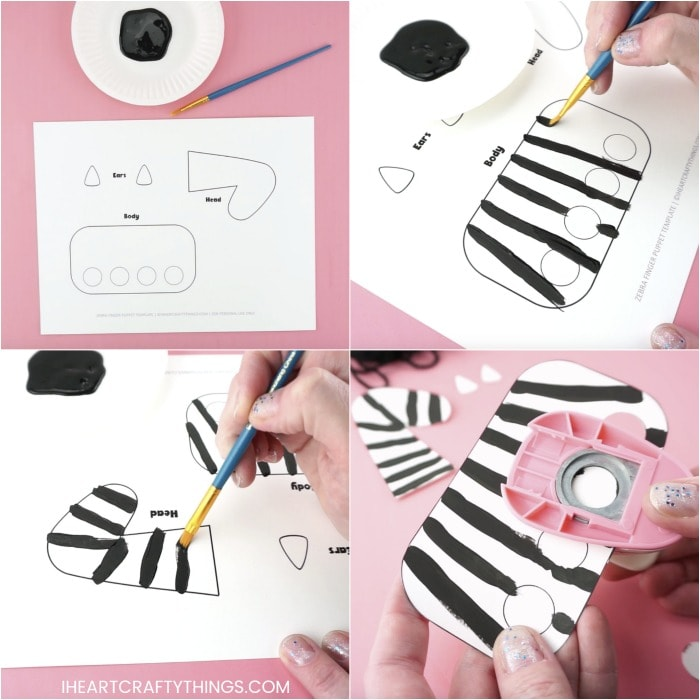 Four image collage showing how to paint the black stripes on the zebra template and how to cut out the finger holes in the template.