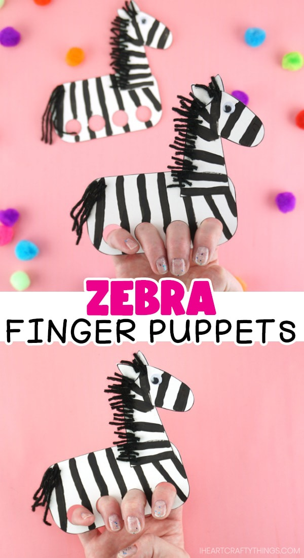 "Two images in a vertical collage showing a person with their fingers in the puppet and the words ""zebra finger puppets"" in the center."