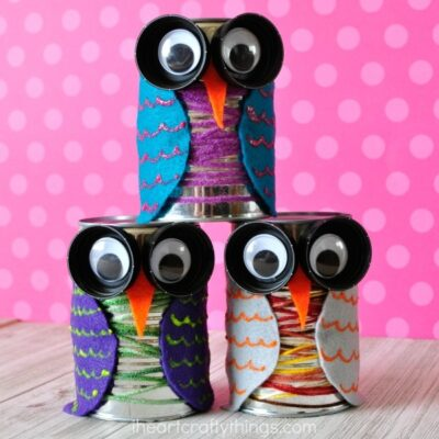 Colorful Tin Can Owl Craft