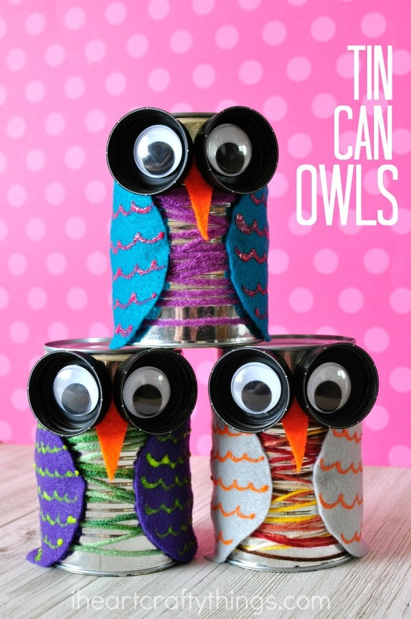 Owl Craft Ideas For Kids Part - 48: ... Colorful Tin Can Owl Craft