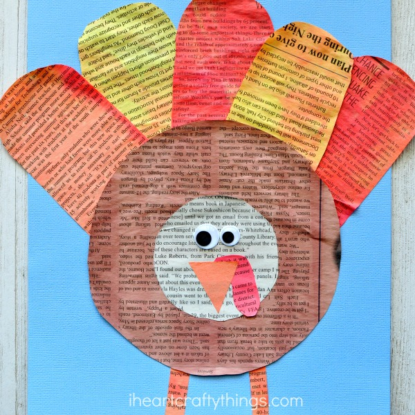 This gorgeous watercolor painted newspaper turkey craft makes a great Thanksgiving kids craft for your family to enjoy together. Fun Thanksgiving craft for kids, turkey craft and turkey kids craft.