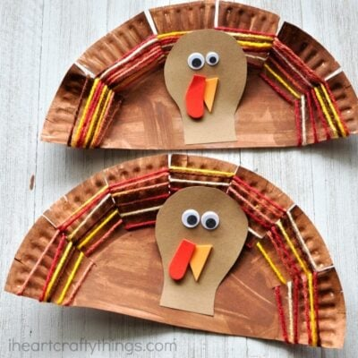 Paper Plate Yarn Weaving Turkey Craft
