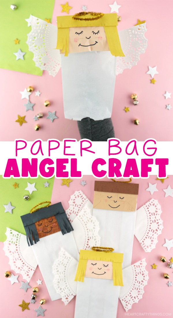 "Vertical two image collage with close up image of person with their hand in the angel puppet in the top image and three angel crafts scattered around in the bottom image with the text ""paper bag angel craft"" in the center between the two images."