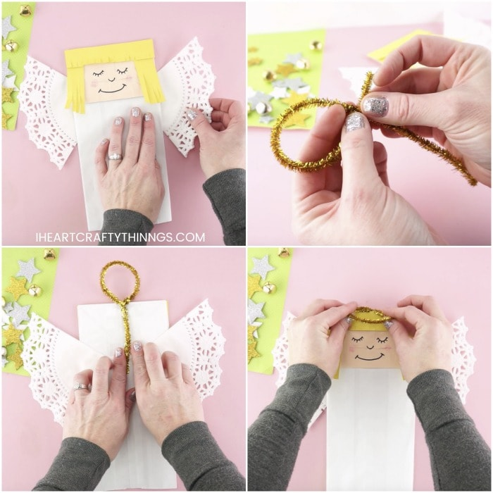 Four image collage showing an adult gluing the doily wings on the back of the angel, twisting the pipe cleaner into a halo and attaching it to the paper bag angel puppet with tape.