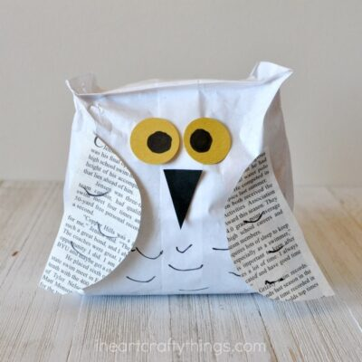 Paper Bag Snowy Owl Craft