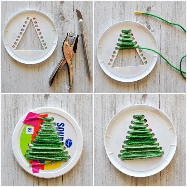 plastic lid christmas tree craft 3 - Craft Christmas