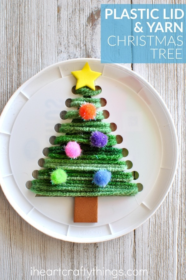 plastic-lid-christmas-tree-craft
