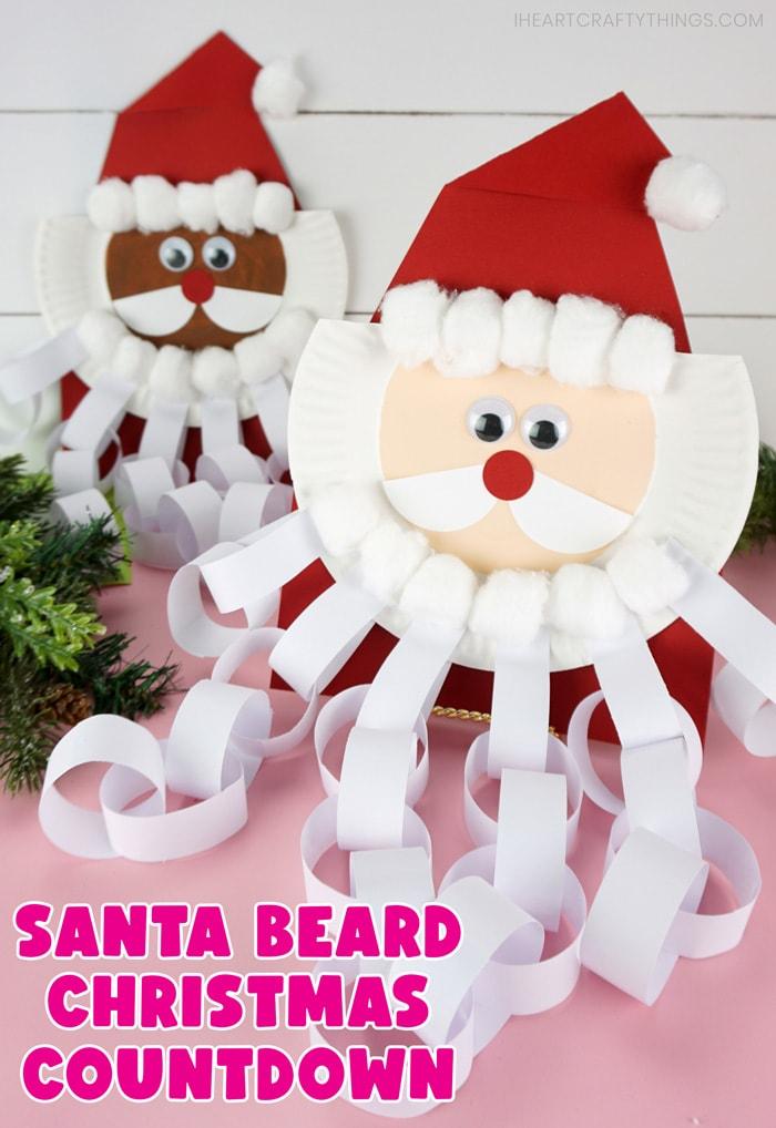 """Vertikales Bild, das ein Santa-Bart-Countdown-Fahrzeug vorne im Fokus und eines hinten unscharf zeigt.  Wörter """"Santa Beard Weihnachten Countdown"""" in der unteren linken Ecke."""