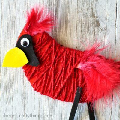 Yarn Wrapped Cardinal Craft