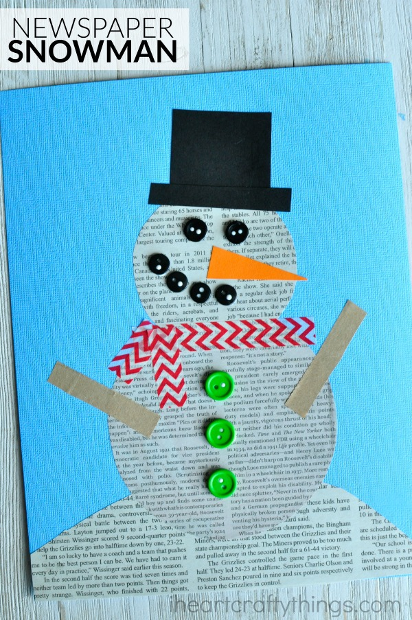 Recycled Newspaper Snowman Craft I Heart Crafty Things