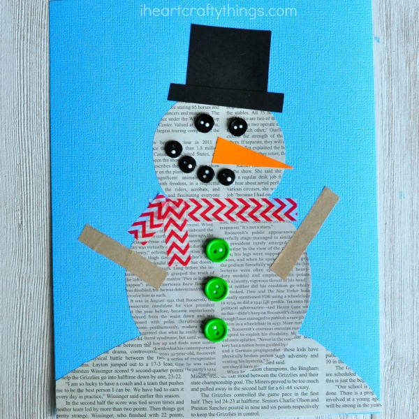 Recycled Newspaper Snowman Craft