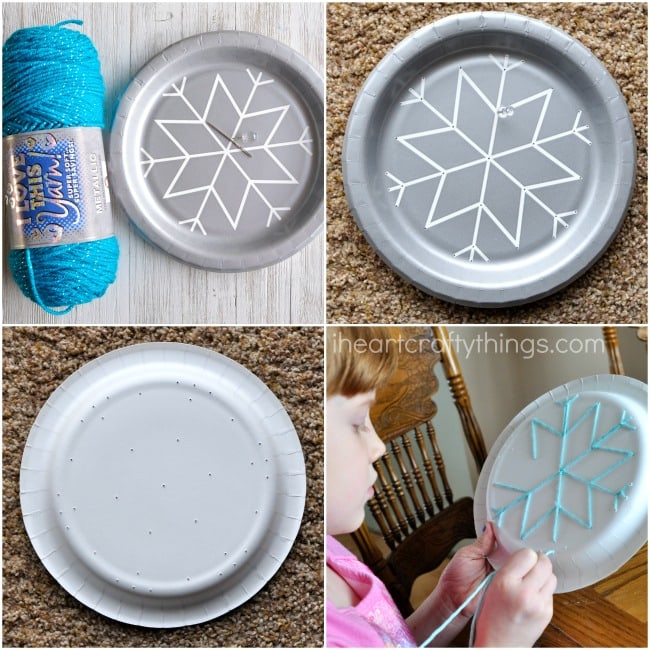 2. Cut off a big piece of your yarn. Thread one end through your yarn needle and tie a knot at the base of the needle. & Paper Plate Snowflake Yarn Art | I Heart Crafty Things