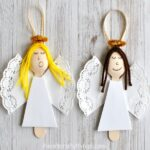 These wooden spoon angel Christmas ornaments are elegant and will add a pretty touch to your tree every year. Great homemade Christmas ornament for kids and fun Christmas craft for kids.