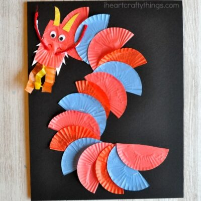 This cupcake liner dragon craft makes a great Chinese New Year craft for kids. You could also use it as an alphabet craft for the letter D or a fun cupcake liner craft for kids.