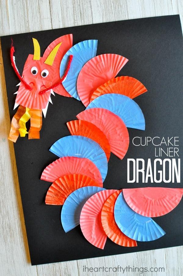 cupcake-liner-dragon-craft Italian Christmas Crafts For Kids