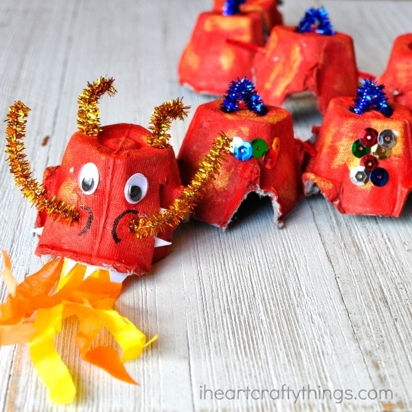 Here's a fun way to make an egg carton dragon craft. Great Chinese New Year craft for kids and fun way to craft with recycled materials.
