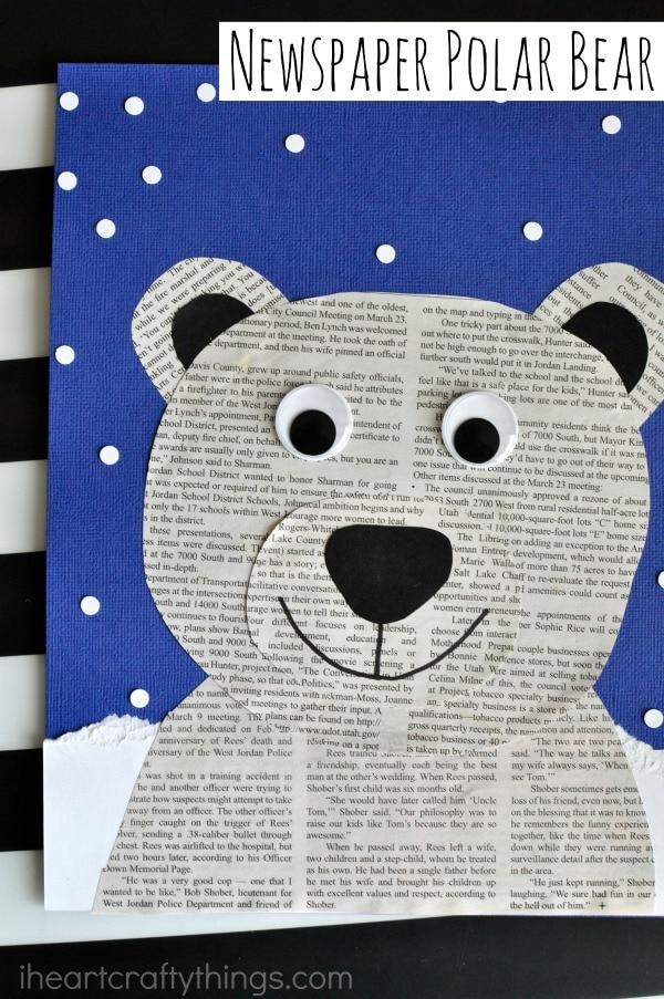 Glue the muzzle on the polar bear face and the ears at the top of the polar bear face. & Newspaper Polar Bear Craft | I Heart Crafty Things