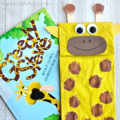 This paper bag giraffe craft makes a great book-inspired craft. Kids can play with their craft as a puppet after making it. Fun preschool craft.