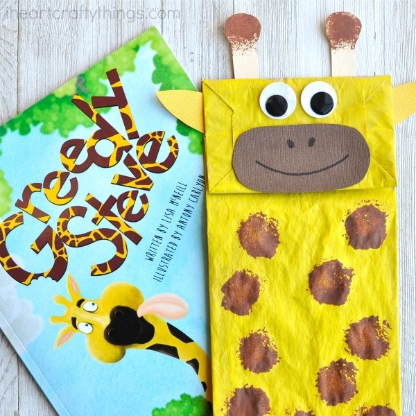 Adorable paper bag giraffe craft i heart crafty things for Brown paper bag crafts for preschoolers