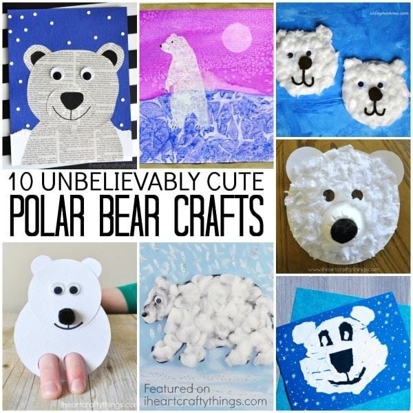 10 unbelievably cute polar bear crafts to add to your to-do list this winter. Fun winter kids crafts, arctic animal crafts, and winter crafts.
