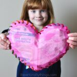 Painted Newspaper Puffy Heart Craft