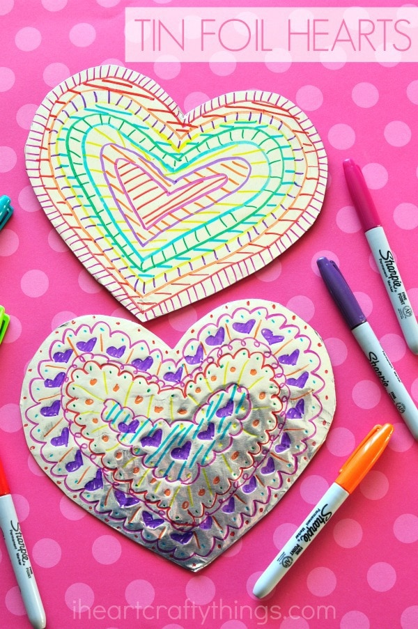 tin foil heart valentines day craft