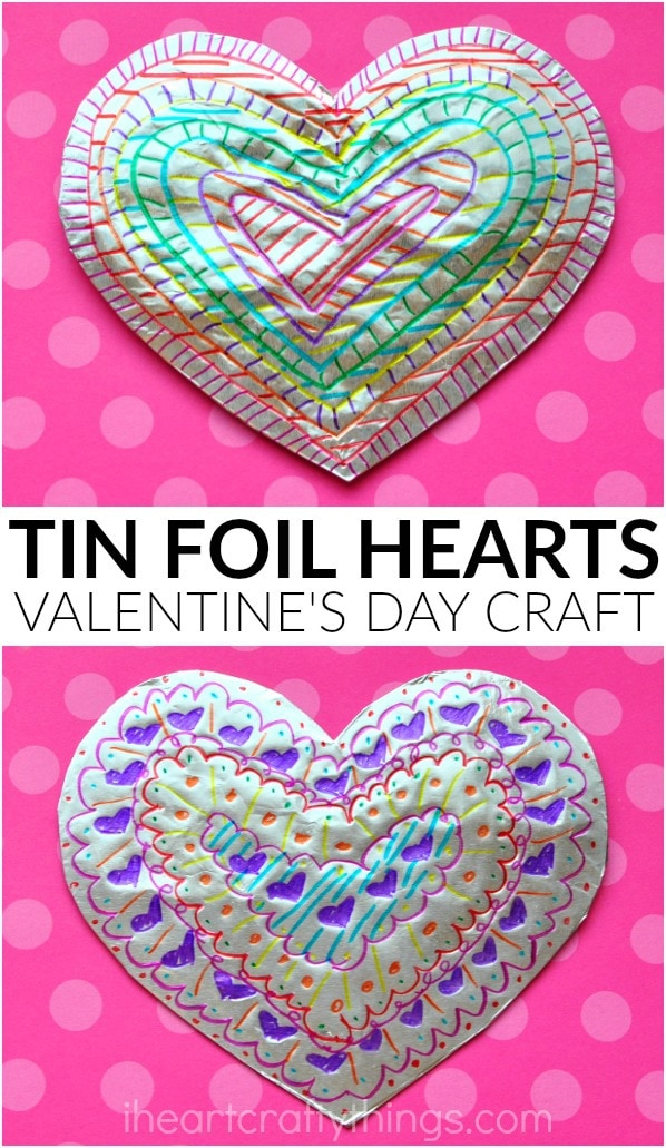 Tin foil heart valentine 39 s day craft i heart crafty things for Valentines day toddler crafts