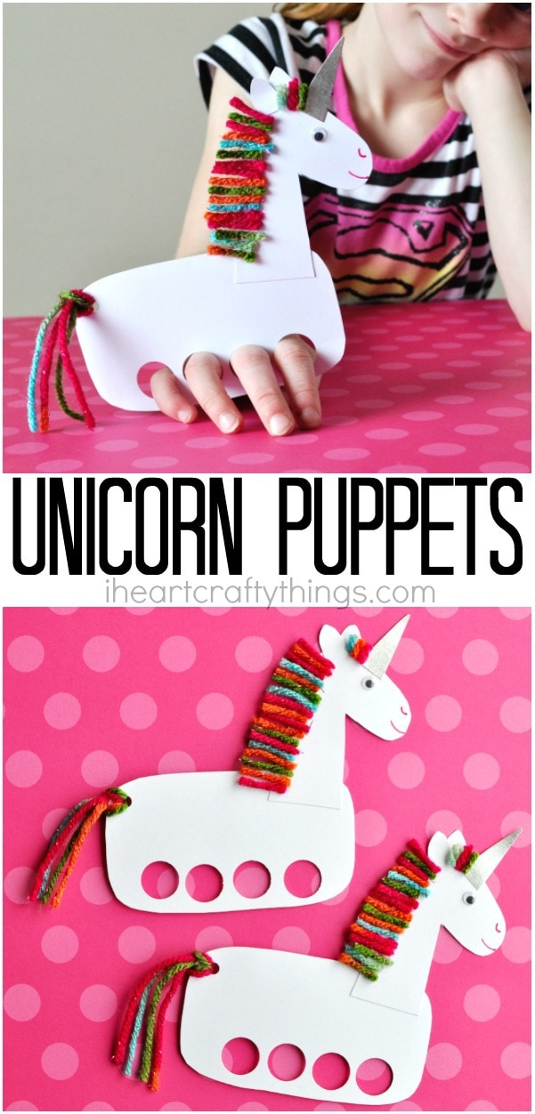 Incredibly cute and playful unicorn puppets i heart for Unicorn crafts for kids