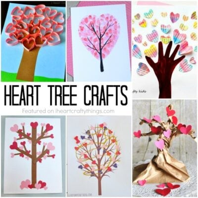 These Valentine's Day heart tree crafts make a perfect Valentine's Day craft for kids of all ages. Fun love tree crafts and Valentine's Day tree crafts.