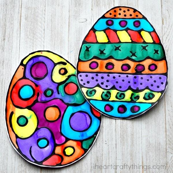 Black Glue and Watercolor Resist Easter Egg Art