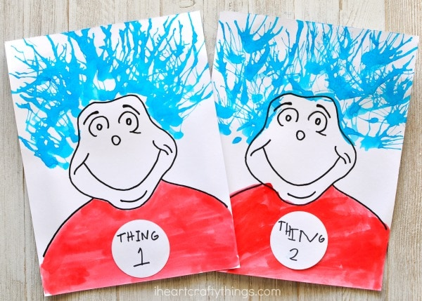 Thing One And Thing Two Blow Painting Dr Seuss Craft I Heart