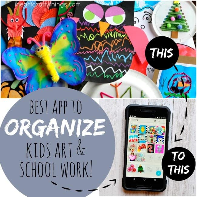 Using the Keepy app is a great tip for how to organize kids artwork and school work. Now you can keep a digital copy of kids artwork and make a photo book to keep the memories forever.