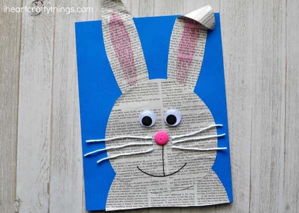 simple and easy newspaper bunny craft i heart crafty things