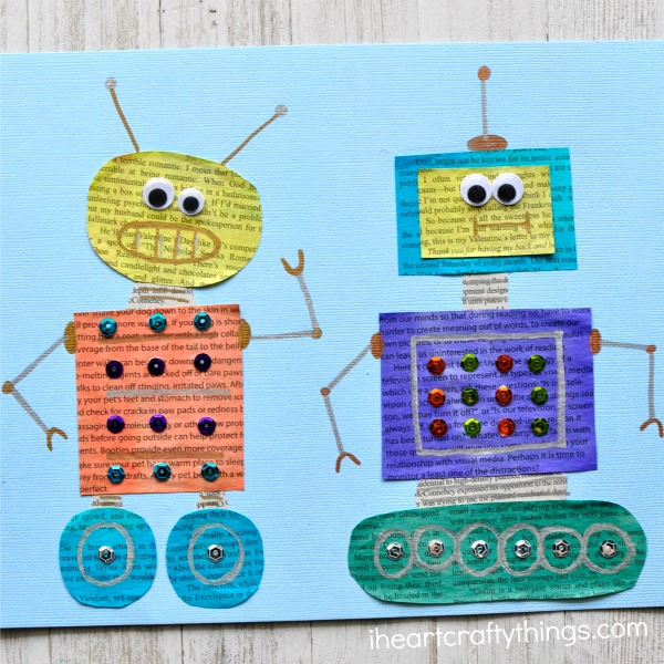 Painted Newspaper Robot Craft I Heart Crafty Things