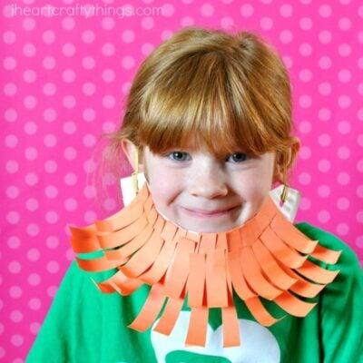 Silly Paper Plate Leprechaun Beard Craft